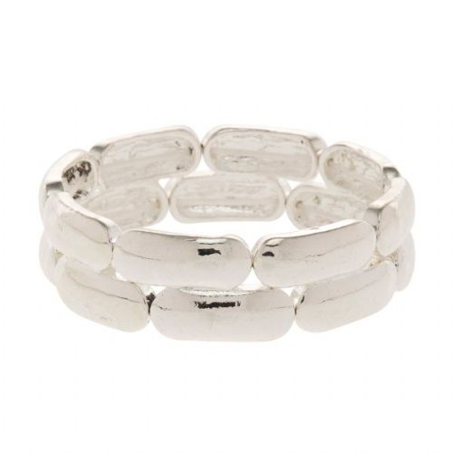 Shiny Silver Elasticated Bracelet with Bangle Effect